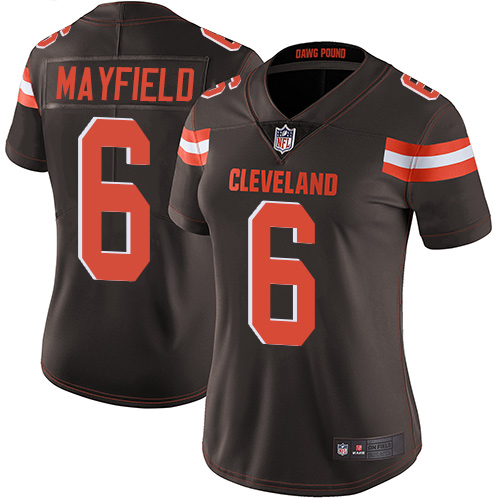Majestic Athletic Cleveland Browns #6 Women's Baker Mayfield Limited Brown Jersey