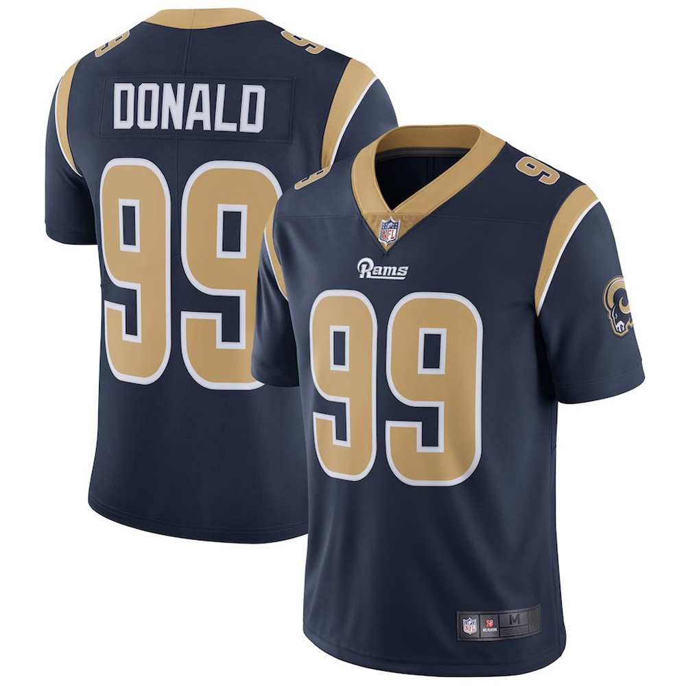 Majestic Athletic Los Angeles Rams Aaron Donald #99 Navy Blue Home Men's Limited Jersey