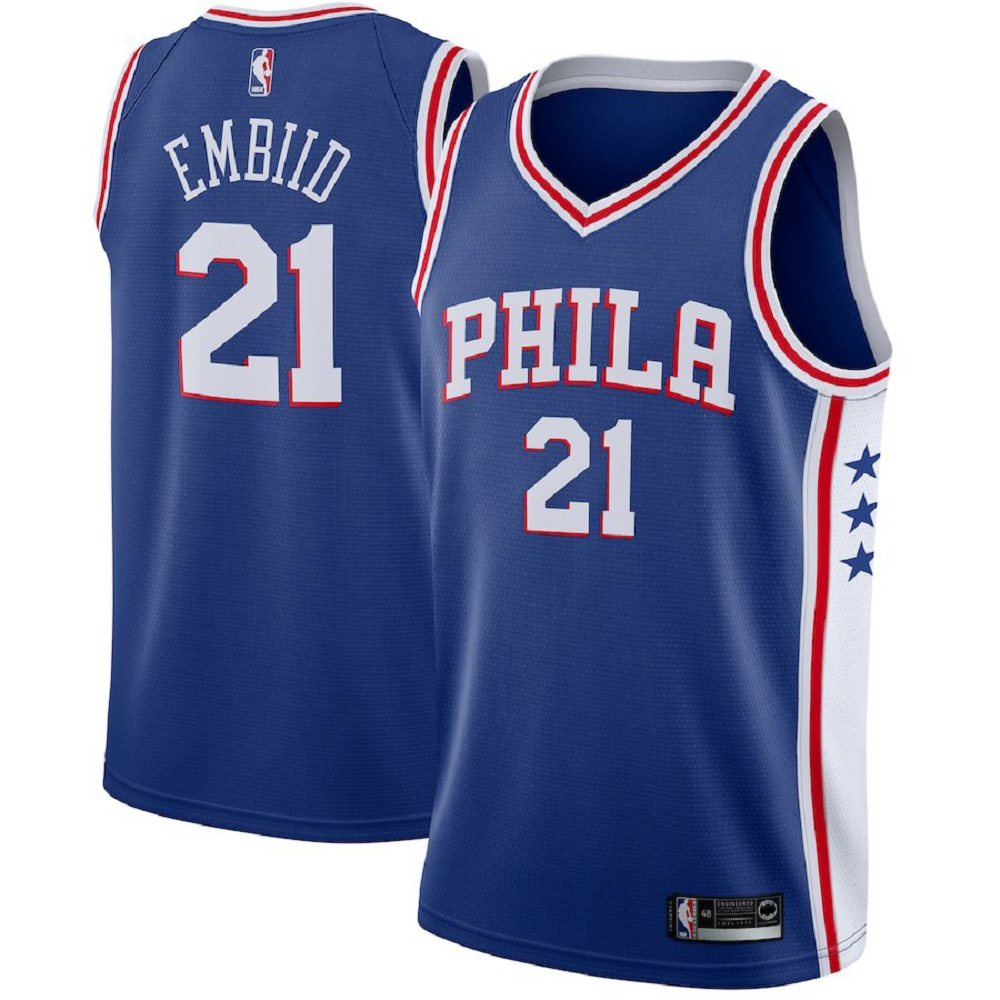 Majestic Athletic Joel Embiid Philadelphia 76ers #21 Blue Men's Swingman Jersey