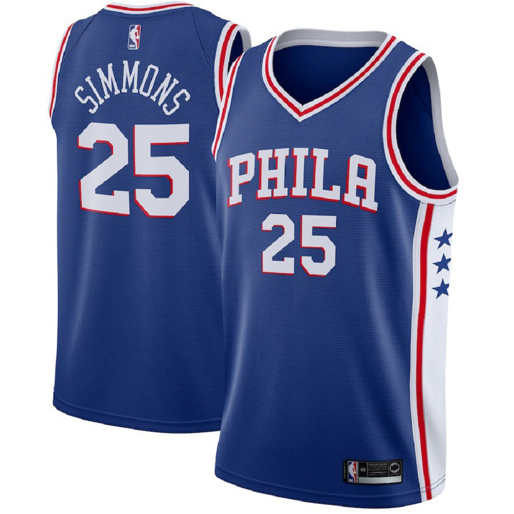 Majestic Athletic Men's Ben Simmons Pheiladelphia 76ers #25 Swingman Blue Jersey
