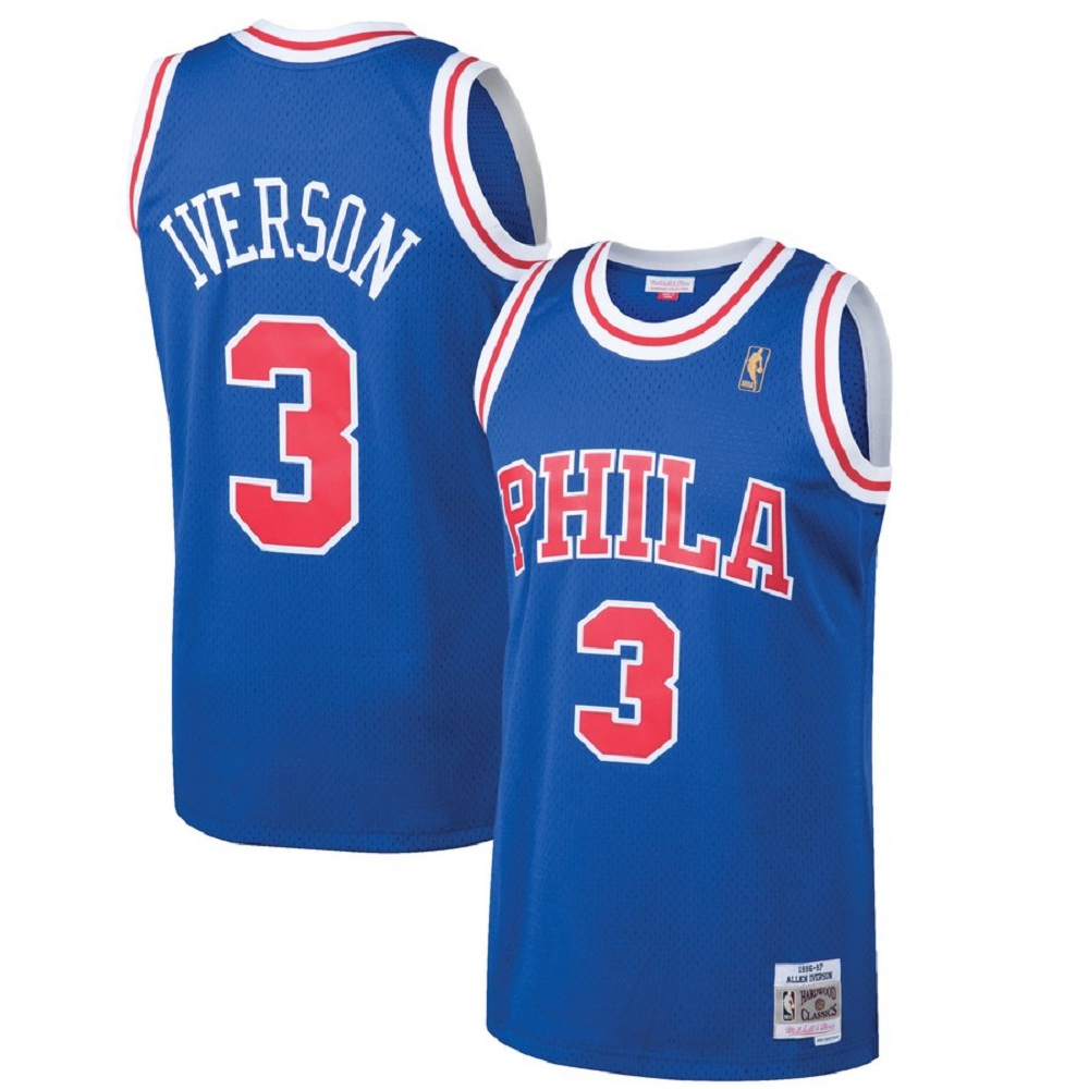 Majestic Athletic Allen Iverson #3 Philadelphia 76ers 1996-97 Men's Hardwood Classics Royal Swingman Jersey