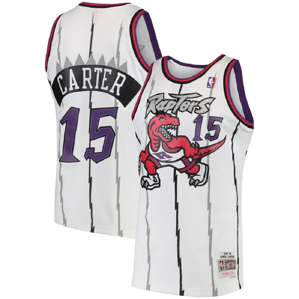 Majestic Athletic Vince Carter White #15 Toronto Raptors Men's 1997-98 Hardwood Classics Swingman Jersey