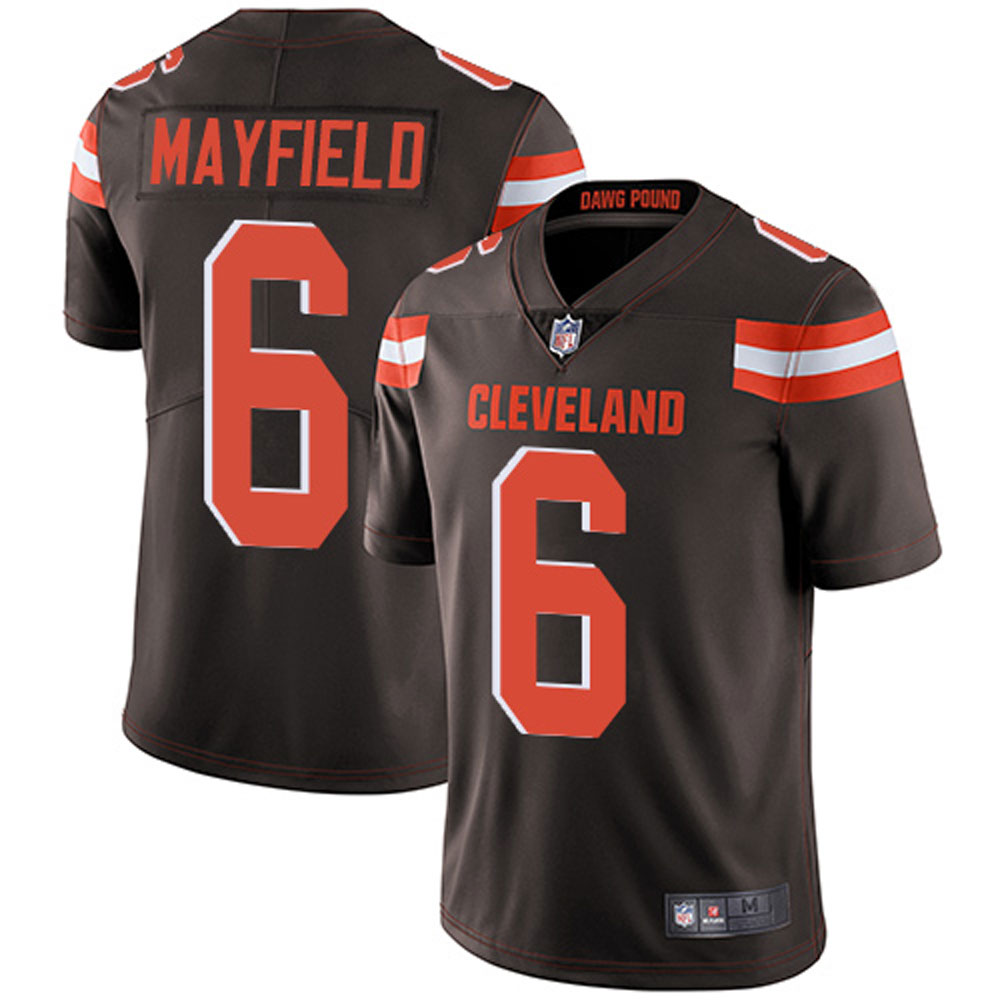 Cleveland Browns 6# Baker Mayfield Men's Limited Brown Stitch Jersey