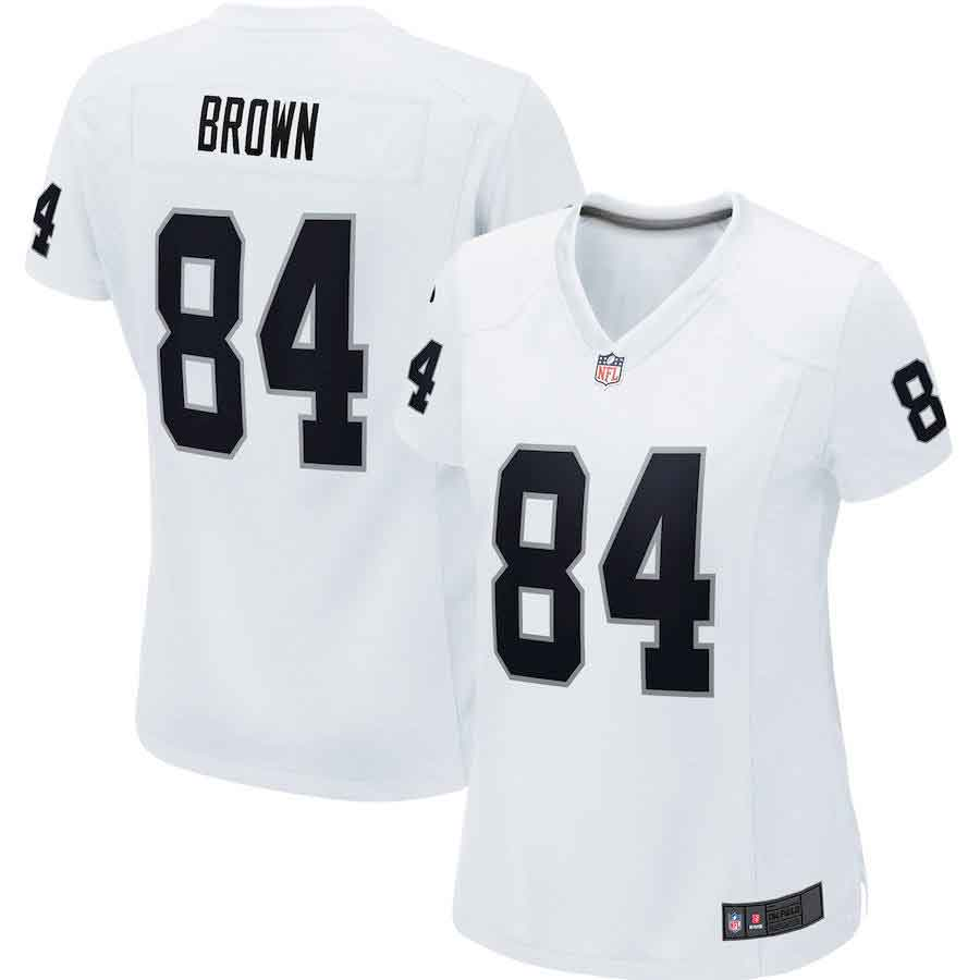 Oakland Raiders 84# Antonio Brown Women's Limited White Stitch Jersey