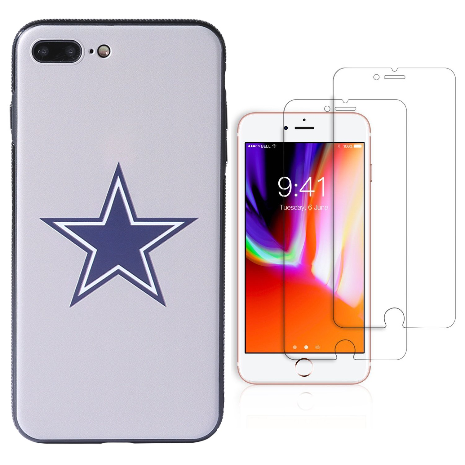 "Sportula NFL Phone Case for iPhone 7 Plus/iPhone 8 Plus (5.5""), Give 2 Premium Screen Protectors Extra Value Set (Dallas Cowboys)"