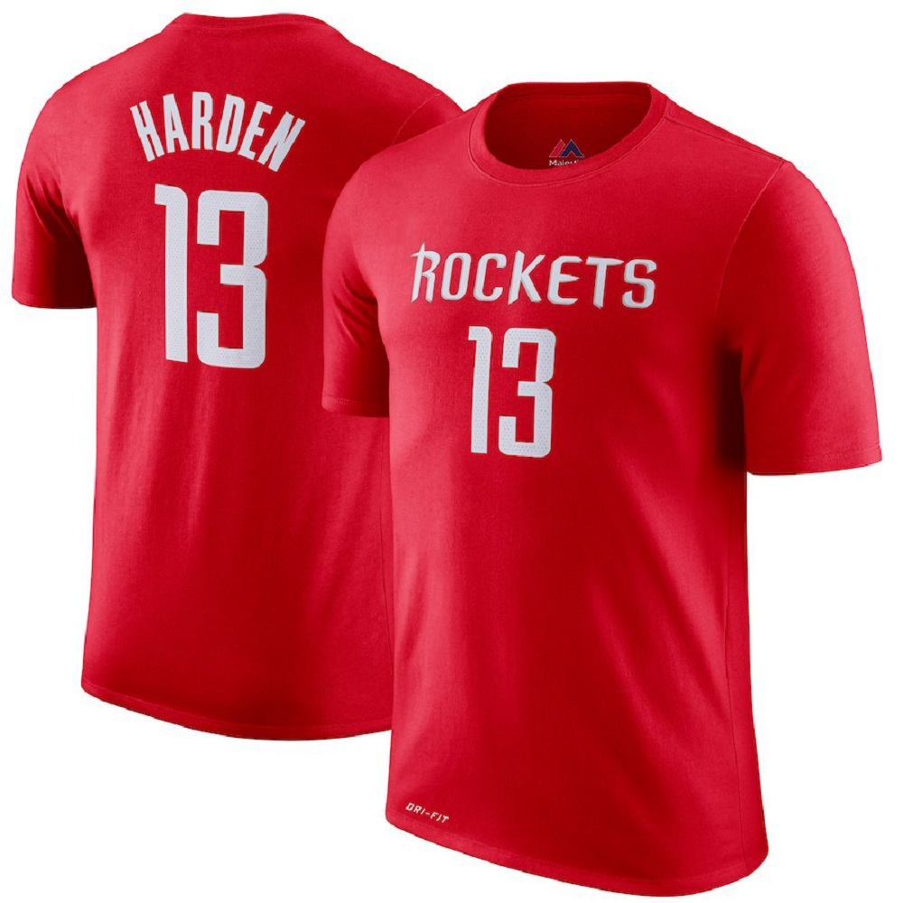 new style a1034 3a5d1 Majestic Athletic Houston Rockets #13 Red James Harden Men's Jersey T-shirt