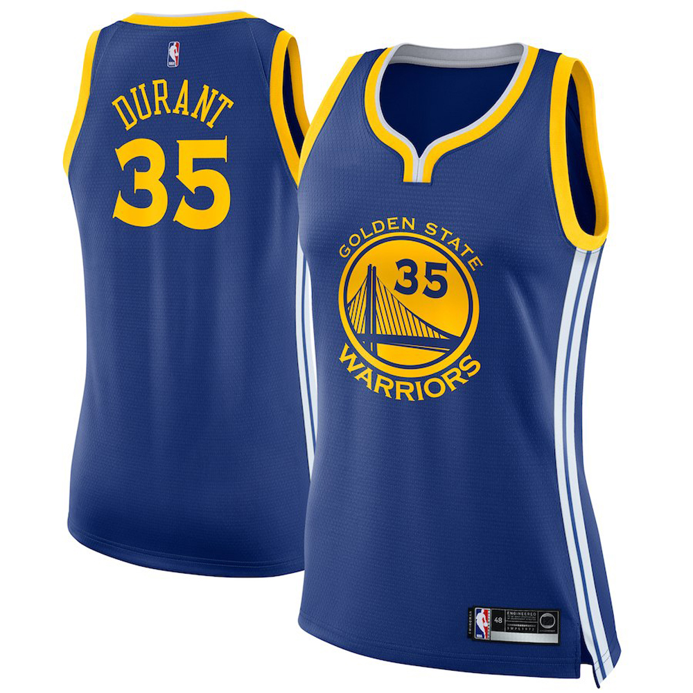 Majestic Athletic Kevin Durant #35 Golden State Warriors Women's Swingman Jersey Blue