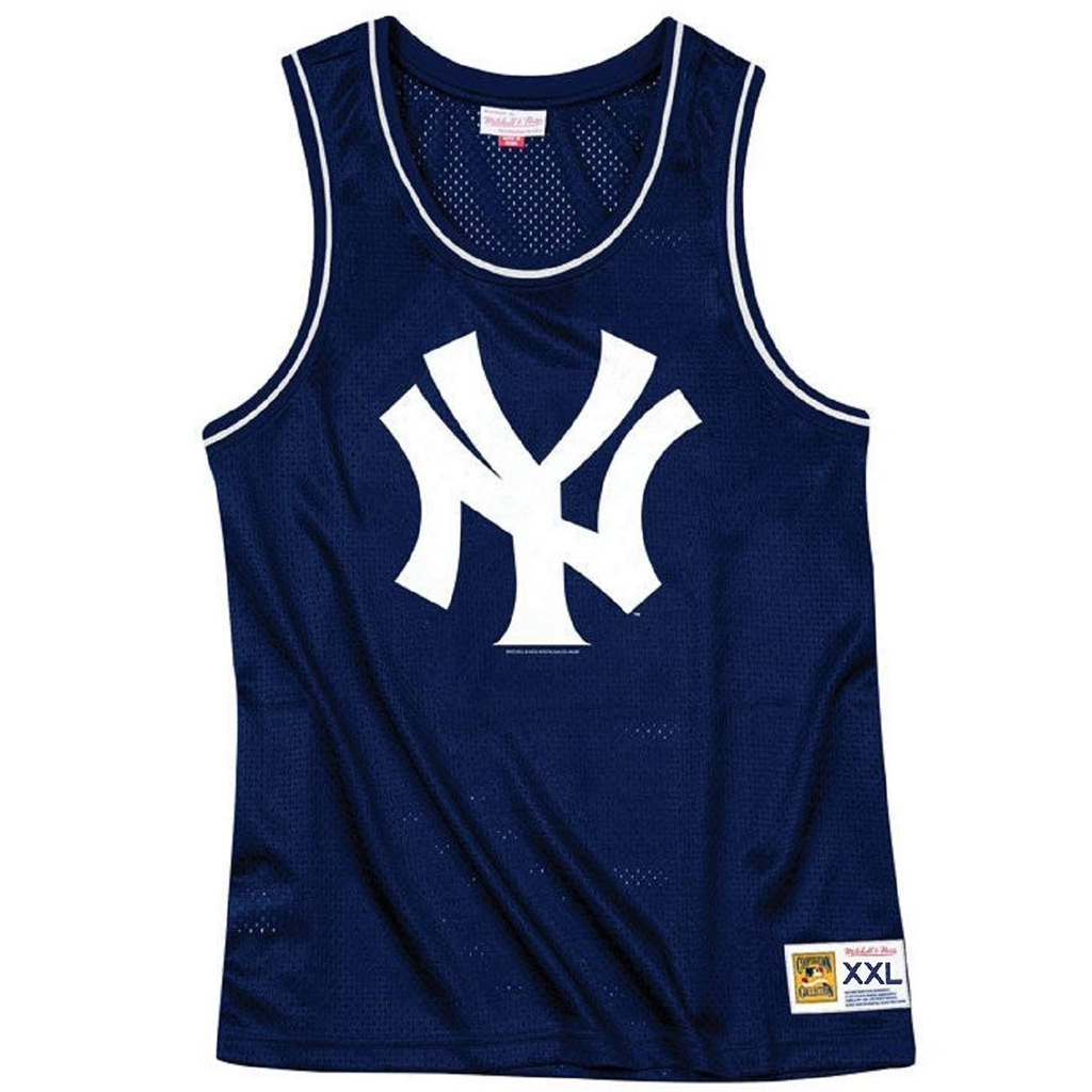 Mitchell & Ness New York Yankees MLB Navy Blue Mesh Tank Top Basketball Jersey Adult Men's XX-Large XXL