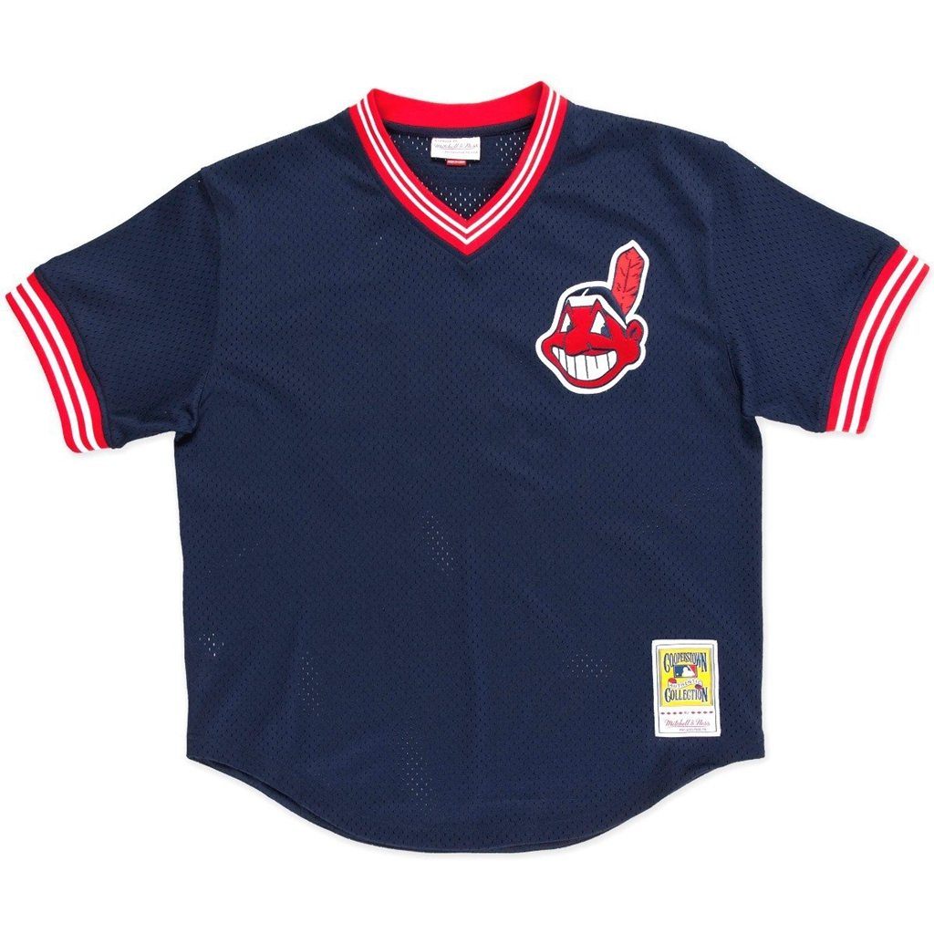 Mitchell & Ness Joe Carter Navy Cleveland Indians Authentic Mesh Batting Practice Jersey