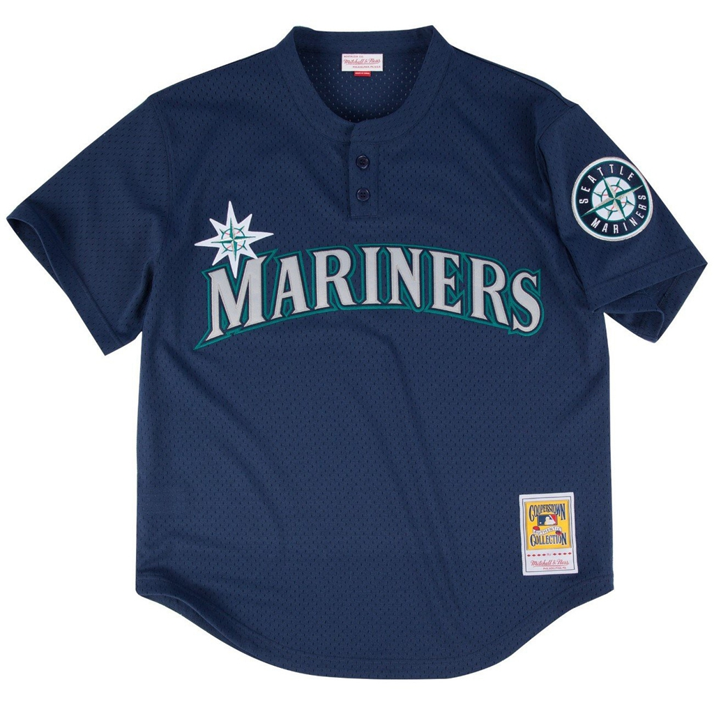official photos 8d654 75fea Mitchell & Ness Ken Griffey Jr. Blue Seattle Mariners Authentic Mesh  Batting Practice Jersey
