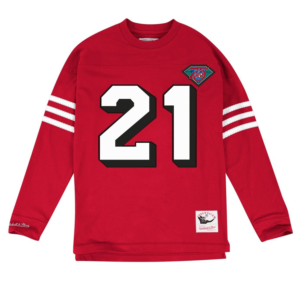 factory price e14e9 85da7 Mitchell & Ness Deion Sanders San Francisco 49ers NFL Red 1994 Jersey  Inspired Longsleeve Knit Shirt for Men
