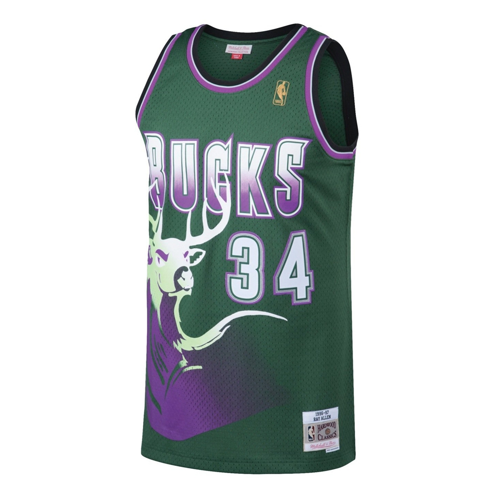 Ray Allen Milwaukee Bucks Mitchell and Ness Men's Green Throwback Jesey