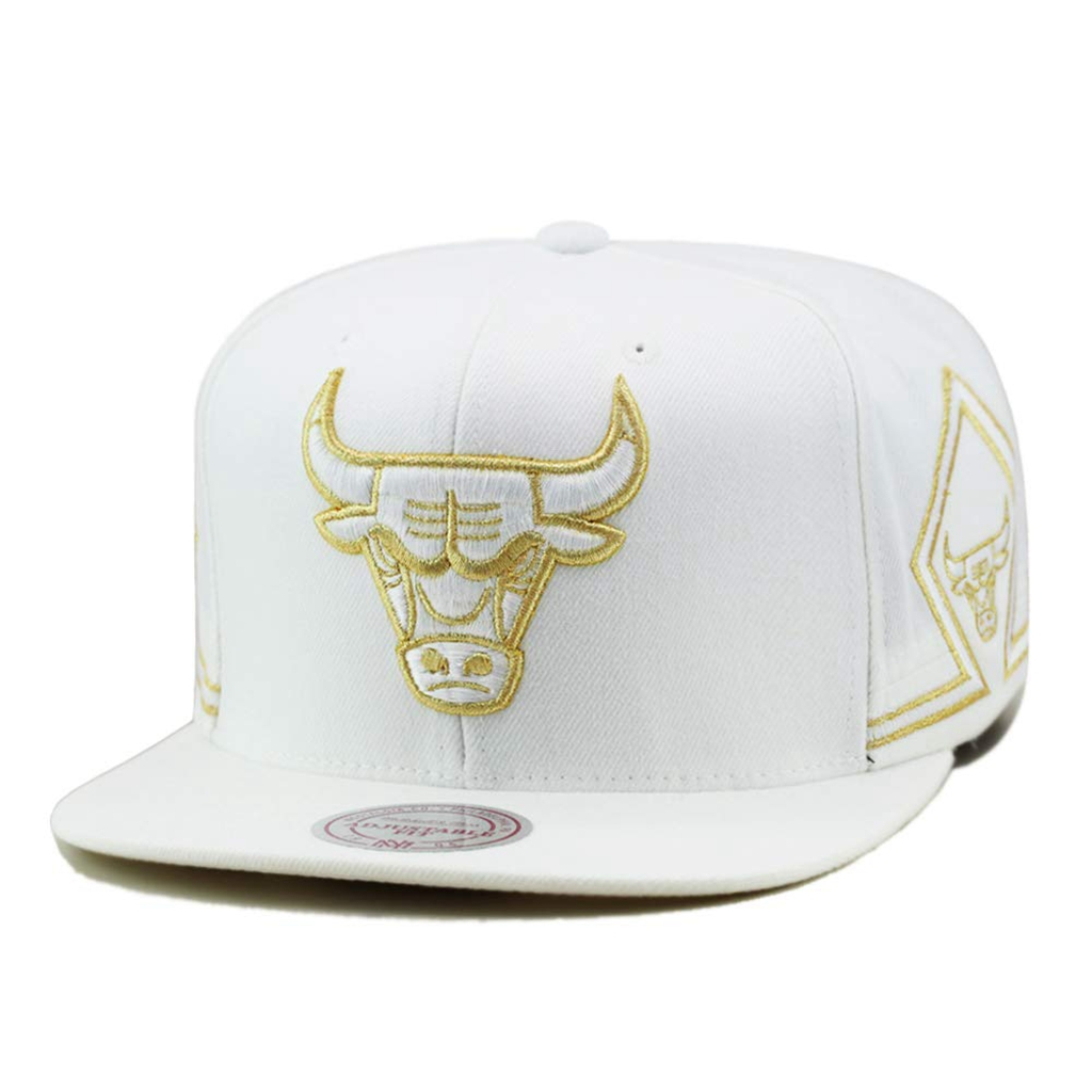Mitchell & Ness Chicago Bulls Snapback Cap White/Gold/Two Patches