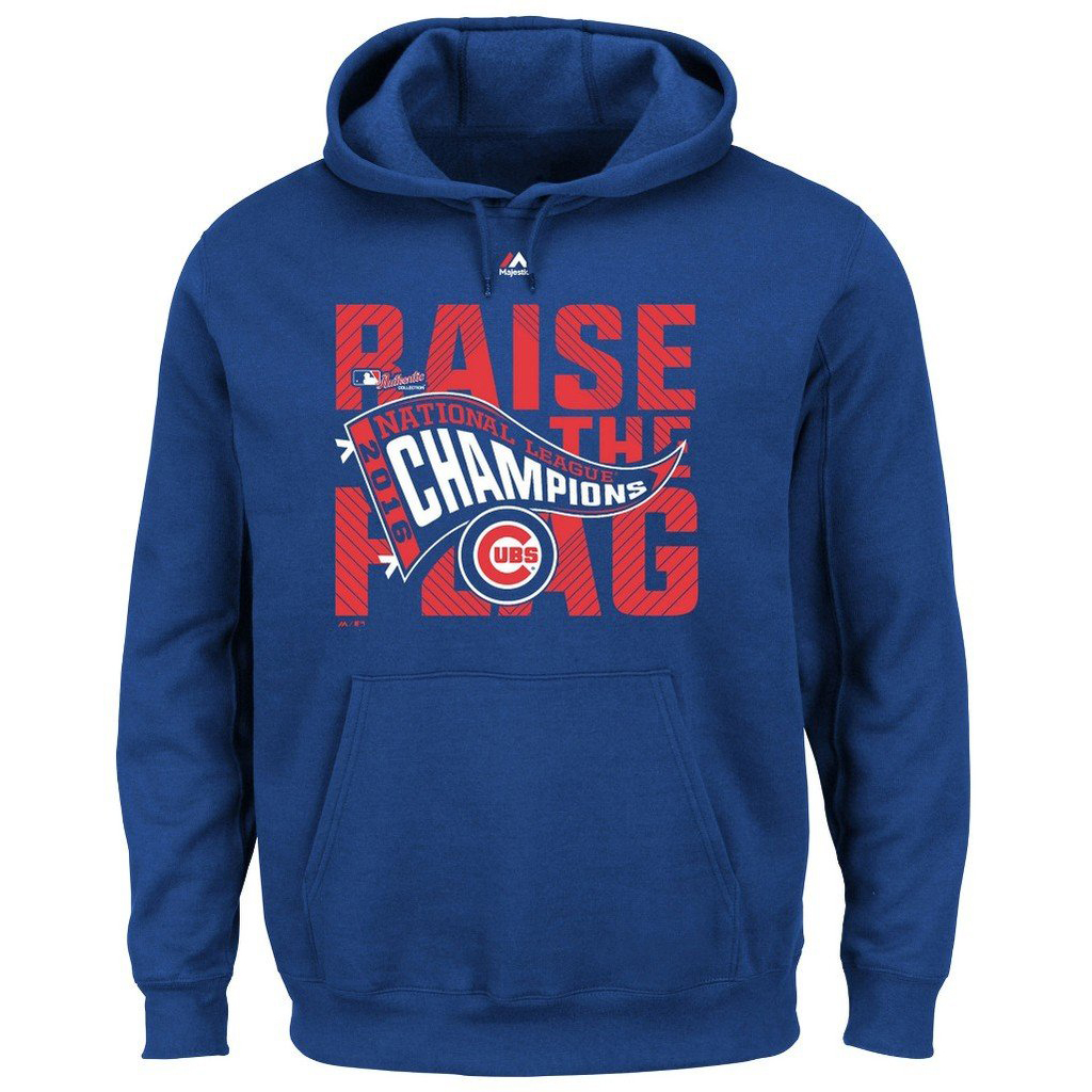 VF Chicago Cubs MLB Mens Majestic 2016 National League Champions Hoodie Royal Blue Big & Tall Sizes