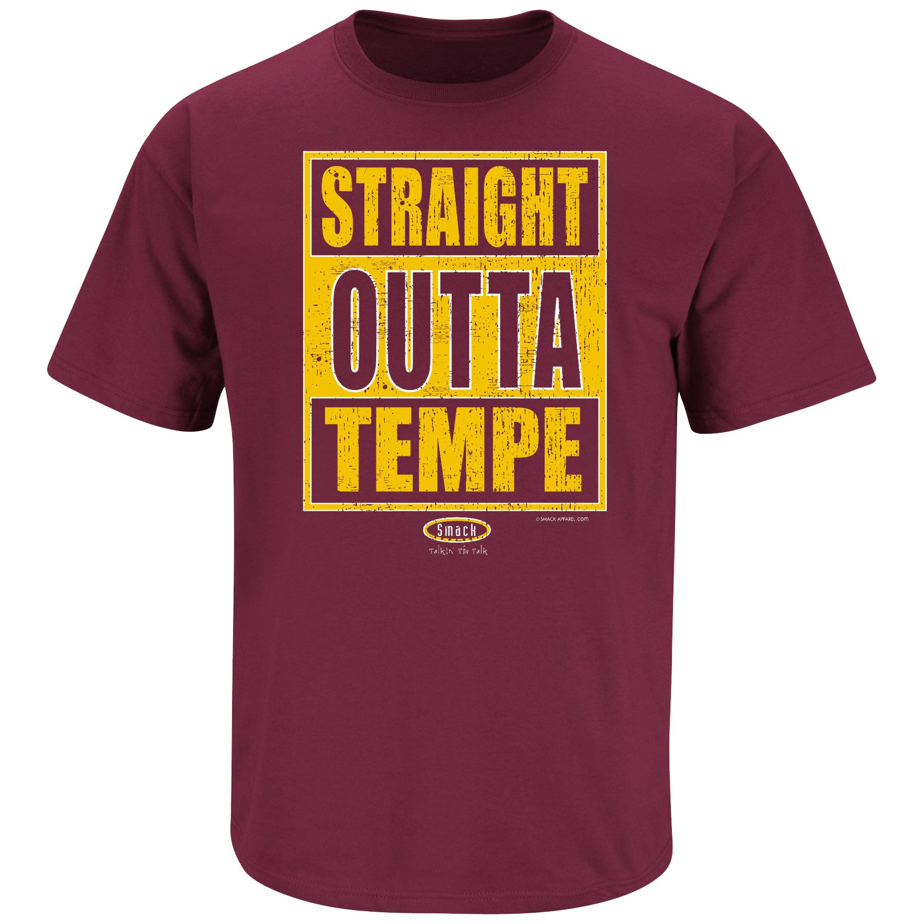 Smack Apparel Arizona State Football Fans. Straight Outta Tempe Maroon T-Shirt (Sm-5X)