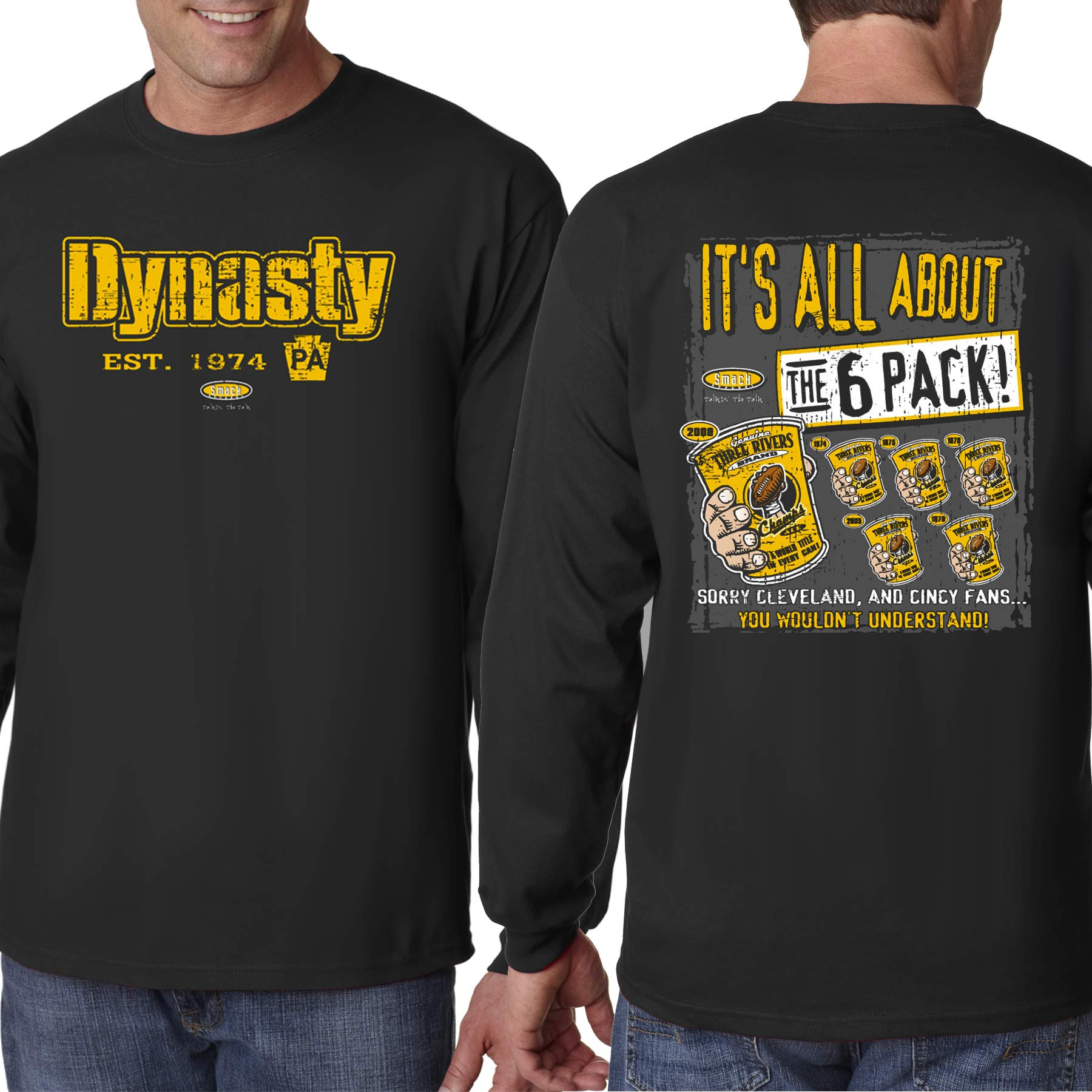 Pittsburgh Football Fans. Dynasty Black T-Shirt (Sm-5X)