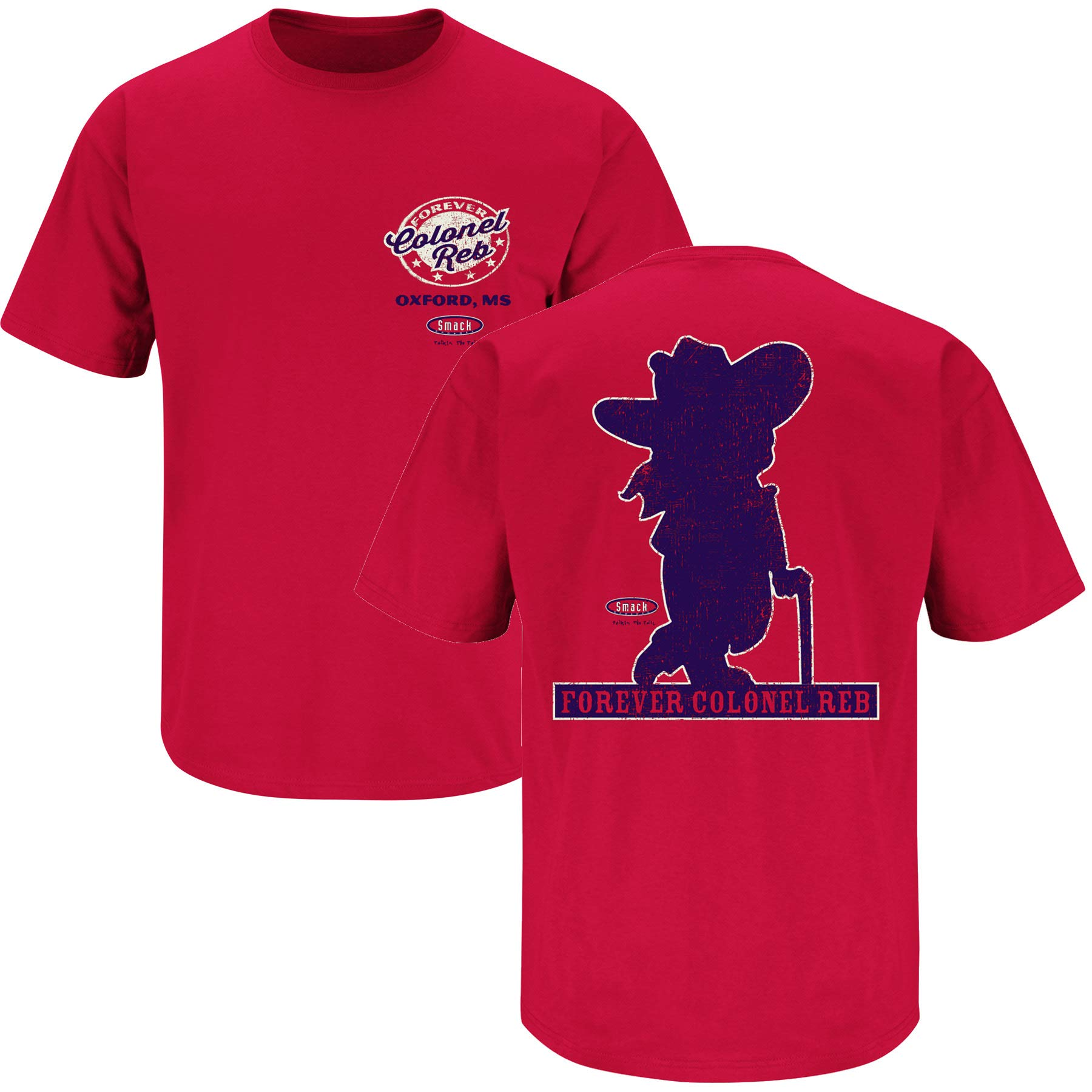 Smack Apparel Ole Miss Football Fans. Colonel Reb. Red T-Shirt (Sm-5X)