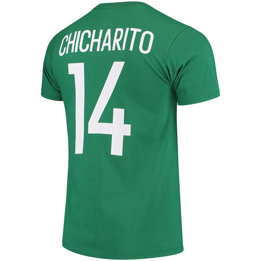 Mexico National Team #14 Chicharito Name and Number Adidas Tee - Green