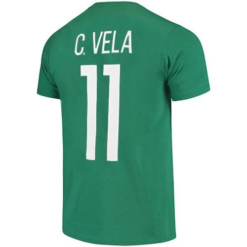 Mexico National Team #11 Vela Name and Number Adidas Tee - Green