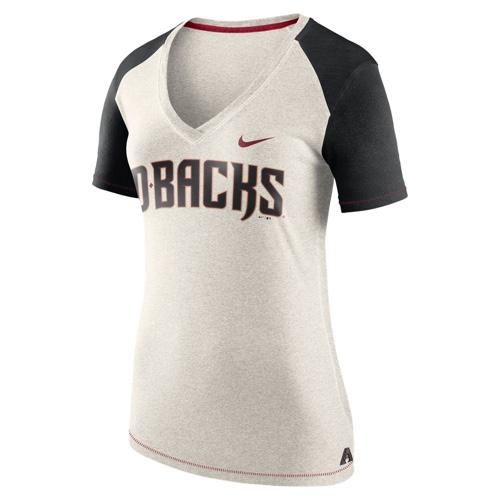 MLB ARIZONA DIAMONDBACKS WOMEN'S NIKE FAN V-NECK TOP - HEATHER